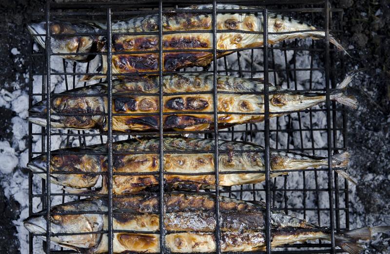 vis van de barbecue